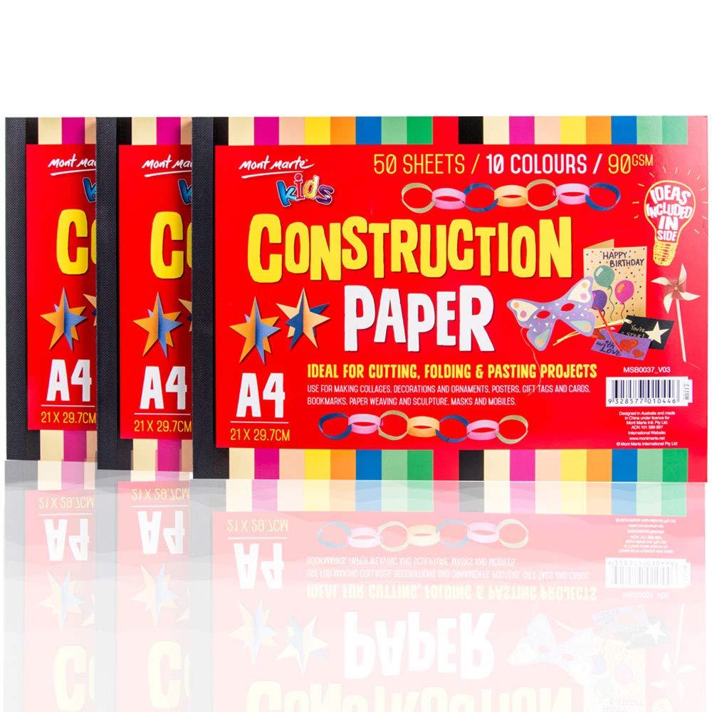 3 pack Mont Marte Creative Kids Construction Paper A4 50 sheet