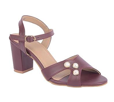 new arrive classic styles super popular ESTATOS Synthetic Leather Open Toe Block Heeled Burgundy ...