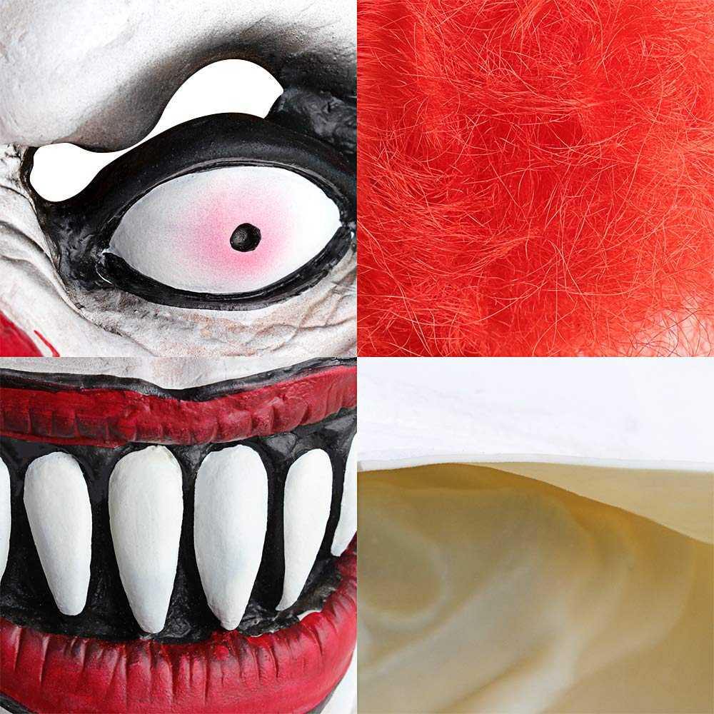 XIAO MO GU Latex Halloween Party Cosplay Face Mask Clown Costumes Mask (Yellow Hair) (red)