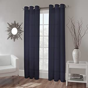 Gorgeous Home 1 Panel Solid Navy Blue SEMI Sheer Window Faux Silk Antique Bronze Grommets Curtain Drapes MIRA (84