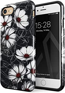 BURGA Phone Case Compatible with iPhone 7/8 / SE 2020 - Senseless Cosmos Dark Black Floral Pattern Cute Case for Girls Heavy Duty Shockproof Dual Layer Hard Shell + Silicone Protective Cover