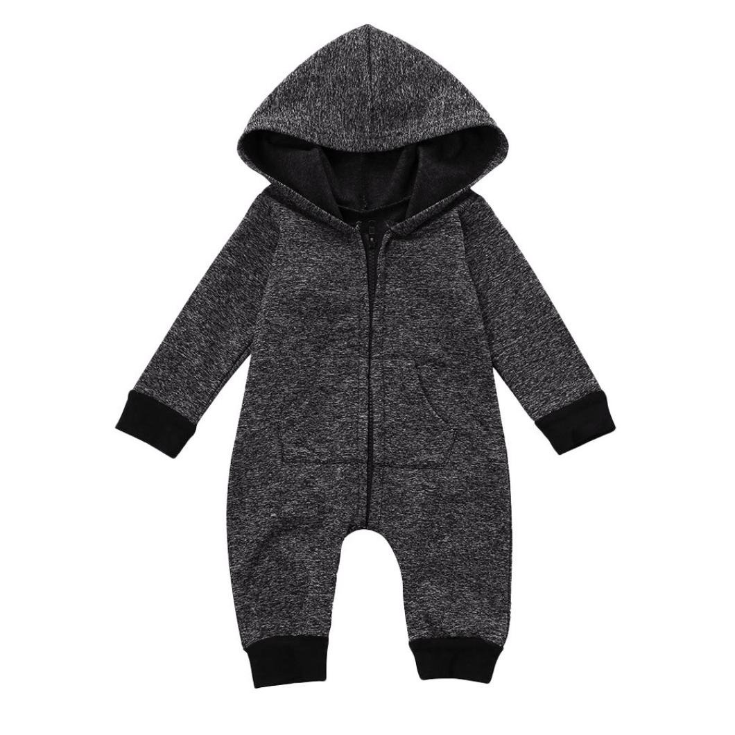 aef787bf58a7 Amazon.com  Gotd Infant Toddler Baby Girl Boy Romper Hooded Jumpsuit ...