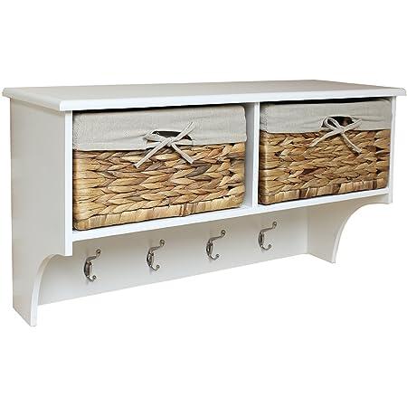 Bon Hartleys Hallway Shelf U0026 4 Hook Coat Rack With Seagrass Storage Baskets
