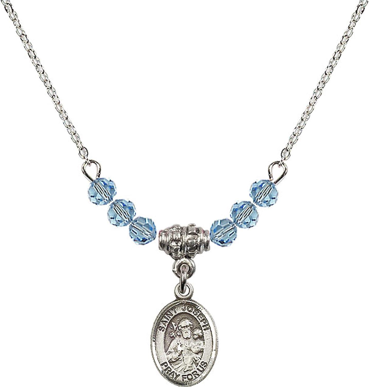 Bonyak Jewelry 18 Inch Rhodium Plated Necklace w// 4mm Blue March Birth Month Stone Beads and Saint Joseph Charm