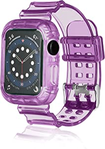ZIYE Sport Bands Compatible with Apple Watch Band 42mm 44mm, Transparent Crystal Clear Soft Silicone iWatch Band Strap Bumper Case for Apple Watch Series 6/5/4/3/2/1/SE (Purple)