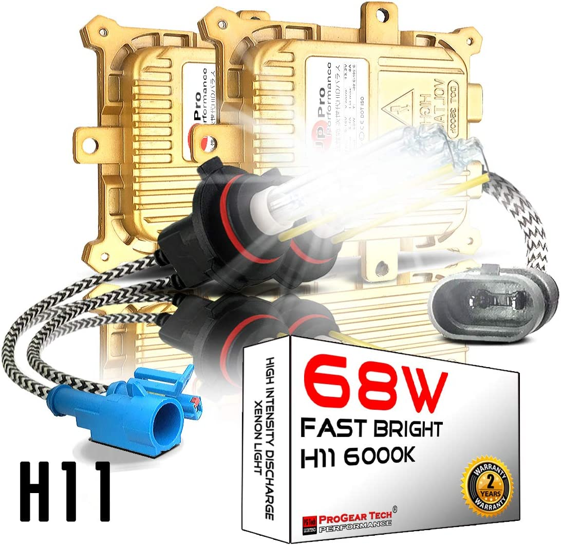 H8 H9 H11 68W Heavy Duty Fast Bright AC HID Bulbs bundle with AC Slim Ballasts H8 H9 H11 they are same, 6000K