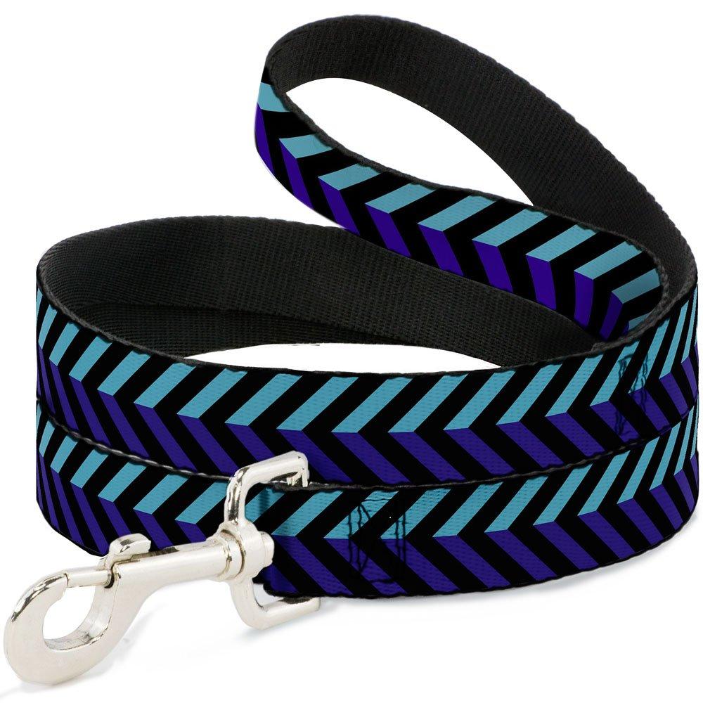 Buckle-Down Pet Leash Chevron3 Split Turquoise Purple Black 6 Feet Long 1  Wide