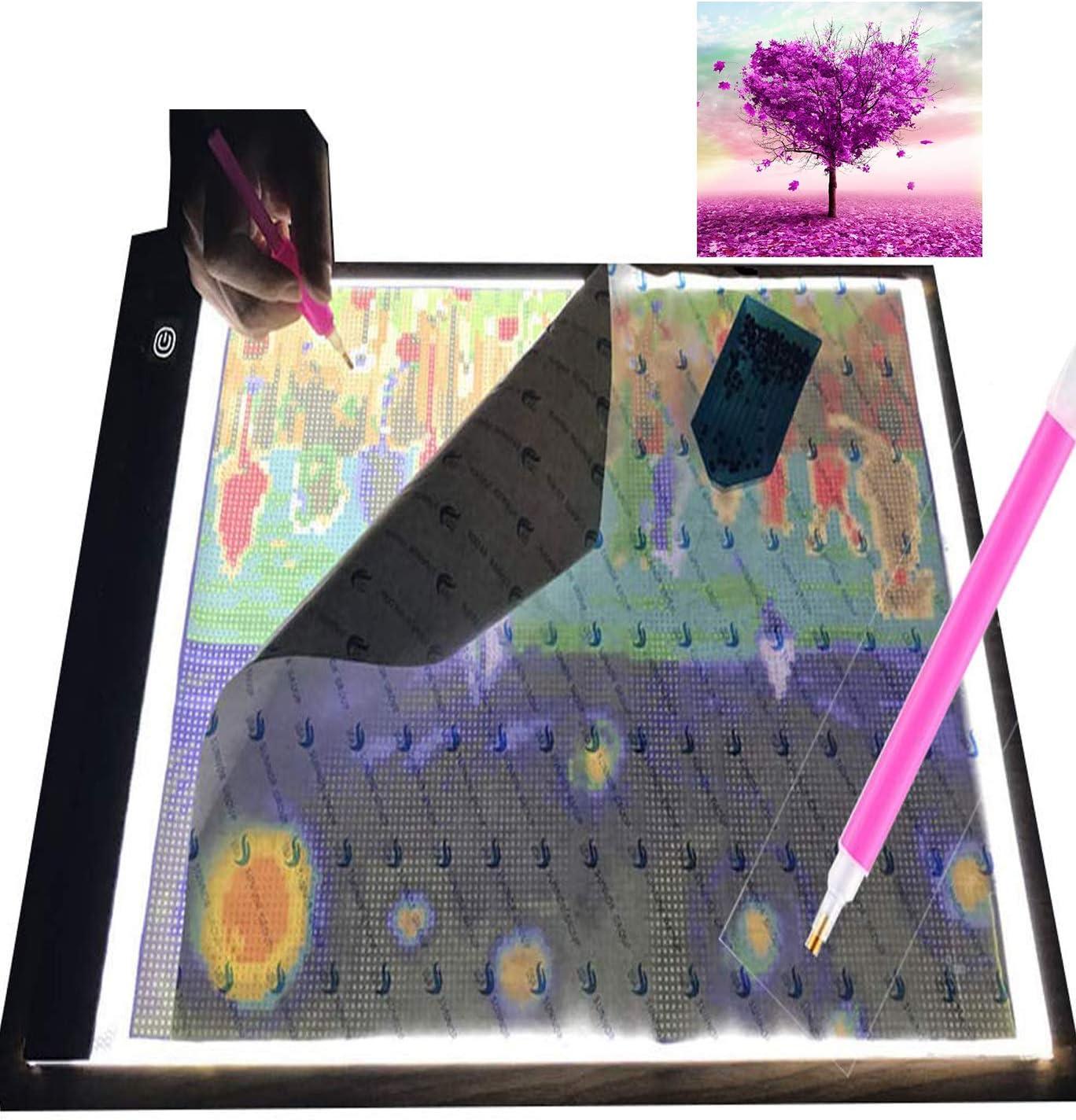 Love Tree Diamond Painting Kits DIY 5D Diamond Painting Full Drill with Ultra-Thin Portable A3 LED Light Pad Light Board Box Kits for Adults Kids