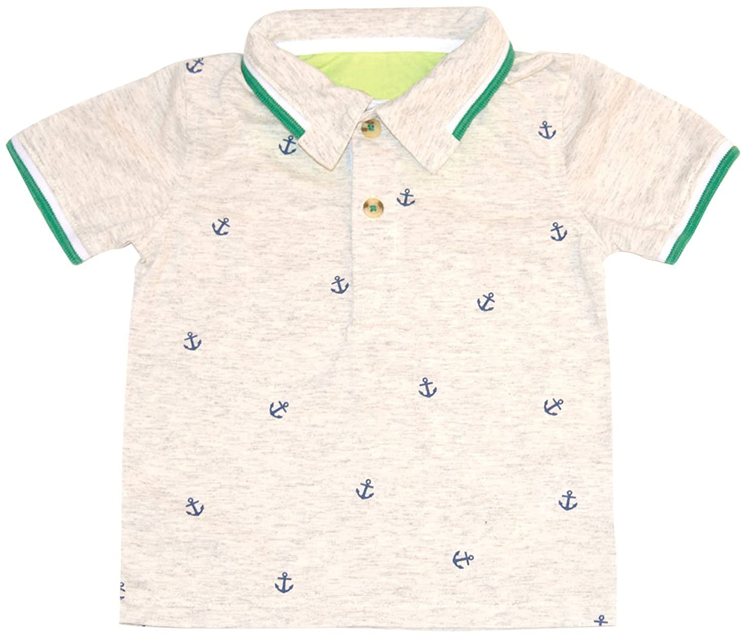 Kapital K Little Boys Anchor Print Polo Whole Wheat Toddler//Kid