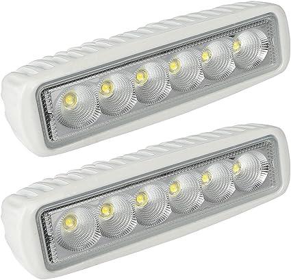 Leaningtech White Spreader Led Deck Marine Lights Set Of 2 For Boat Flood Light 12v 18w
