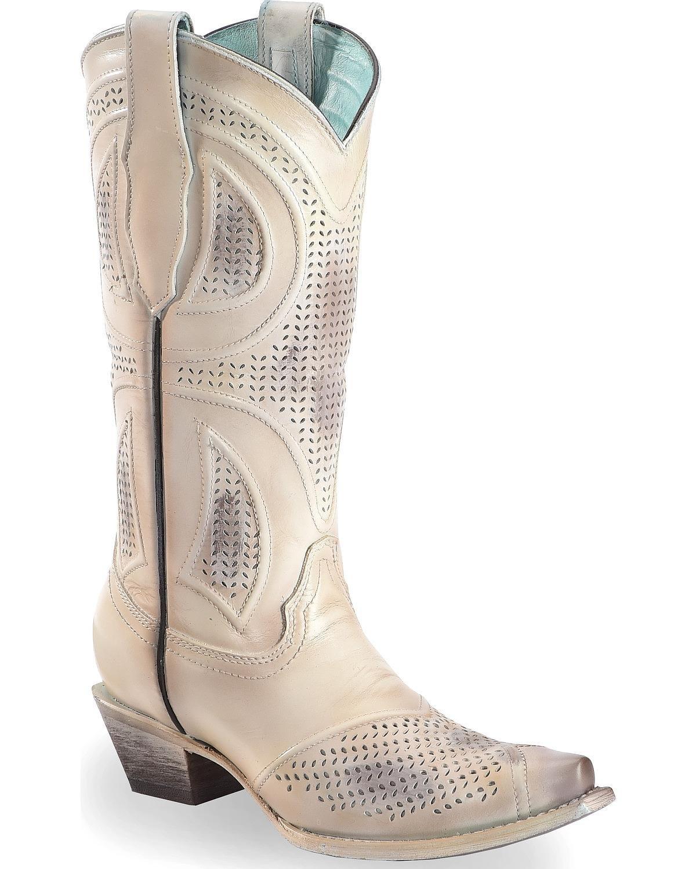 CORRAL Women's Laser Cut Wedding Boot Snip Toe Beige/Khaki 6.5 M