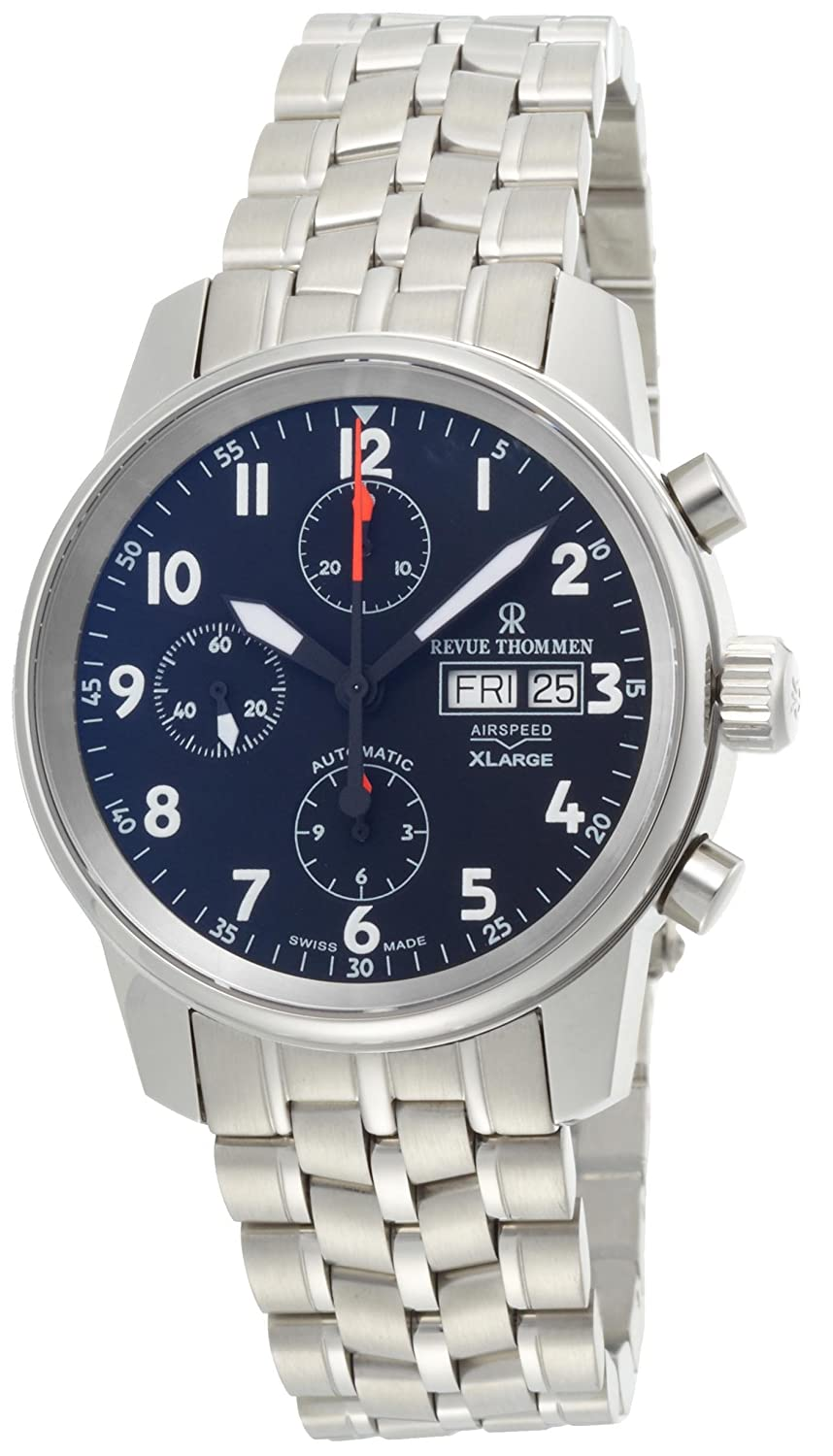 Revue Thommen Men s 16051-6137 Airspeed XLarge Chronograph Automatic Black Dial Watch