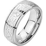 MunkiMix 7mm Acero Inoxidable Anillo Ring Banda Venda El Tono De Plata Grabado Florentino Diseño Talla Tamaño 4~15 Hombre