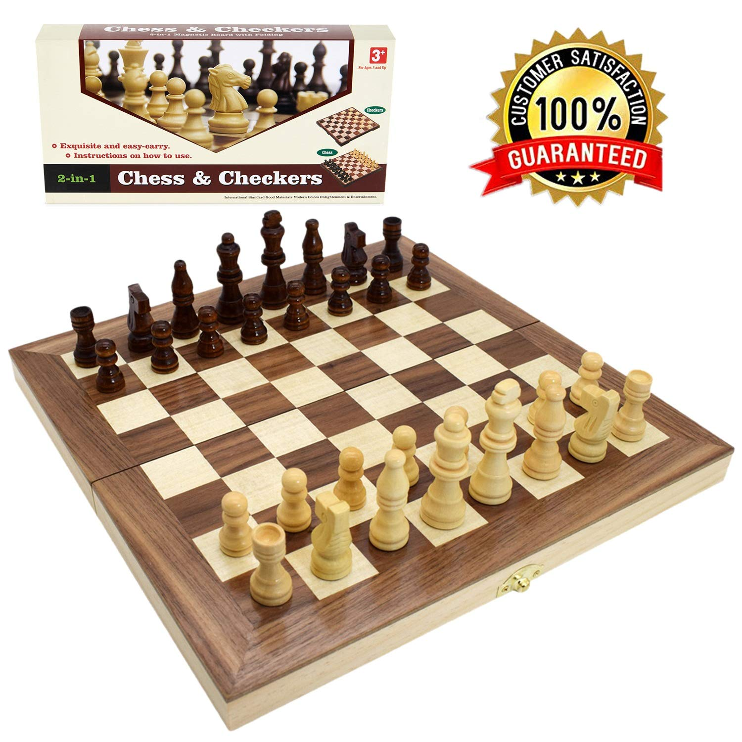 """Wooden Chess Set for Kids and Adults, Travel Chess and Checkers Set with Folding Chess Board  Games Set Interior for Storage (12"""" x 12"""")"""