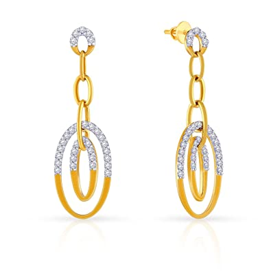 0d0a82facb044 Buy Malabar Gold and Diamonds Mine 18k Yellow Gold and Diamond Drop Earrings  Online at Low Prices in India