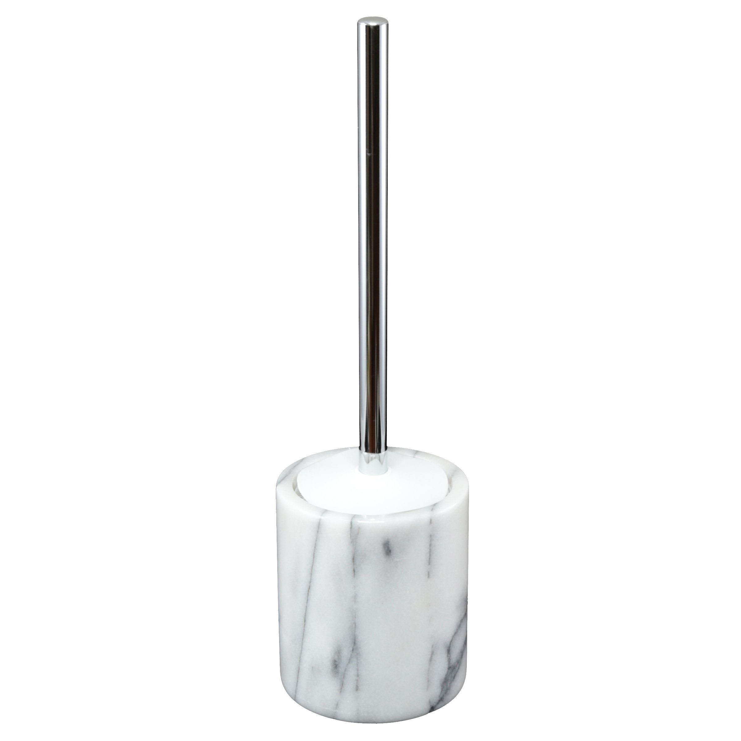 Creative Home Natural Marble Toilet Brush Holder Set with with Silicone Cover, 4-1/4'' Diam. x 14-1/2'' H, White