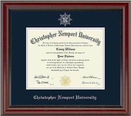 Amazon Com M La Hart Christopher Newport University Diploma Frame The Fidelitas Sports Outdoors