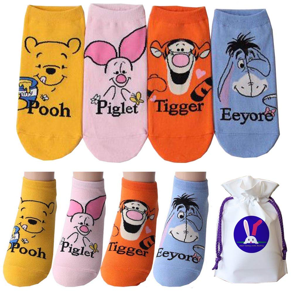cf113b8f7a9ea Pack of 4 pairs Disney Winnie the Pooh and Friends Piglet Tigger Eeyore  Socks Character Licensed Socks: Amazon.co.uk: Clothing