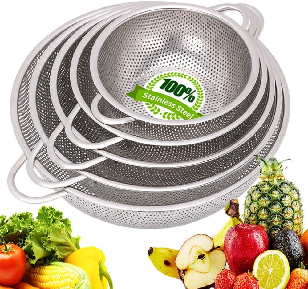 Colander Stainless Steel - Metal Colander with Handle - Mesh Colander Perforated Strainer for Kitchen Pasta/Vegetable/Rice/Fruit/Food - Dishwasher Safe- Set of 5 (7.5