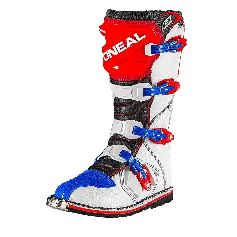 O'Neal Rider Stiefel MX Cross Stiefel Blau Rot Weiß Motorrad Enduro Motocross Offroad, 0329-7