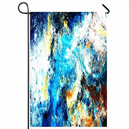 Ahawoso Outdoor Garden Flags 12 X18 Inch Movement Splash Blue Waves Artistic Splashes Swirl Abstract Painting Watercolor White Air Bright Vertical