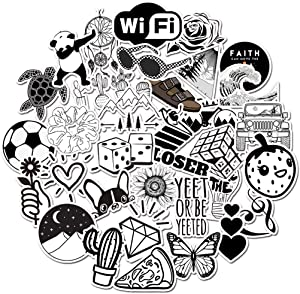 Stickers for Water Bottle 50pcs, Small VSCO Cute Vinyl Waterproof Trendy Sticker for Teen Girl, Fashion Decal for Laptop Phone Travel Case Skateboard (Black and White)