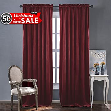 Elegant Red Velvet Curtains And Drapes For Bedroom   Ruby Red Curtains For Holiday  Season Christmas Curtain