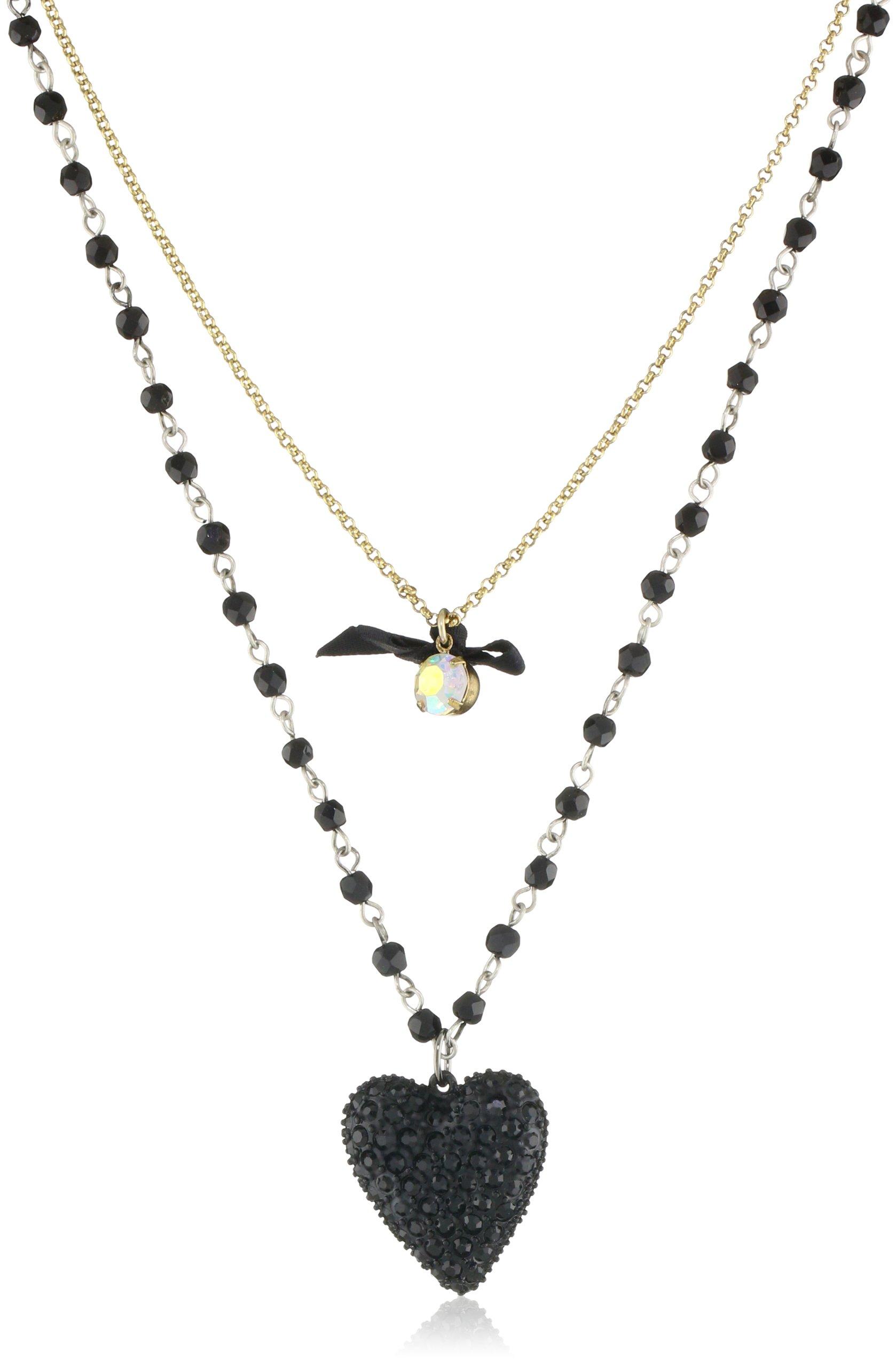Betsey Johnson ''Essentials'' 2 Row Heart Pendant Necklace