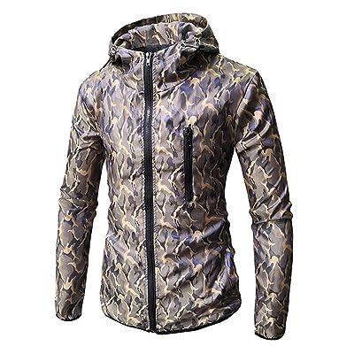HDGTSA Mens' Hooded Sweatshirt Long Sleeve Camouflage Printed Top Tee Zip Outwear Blouse at Men's Clothing store