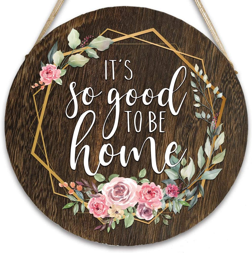 vizuzi It's So Good to Be Home Front Door Hangers Hanging Sign, Rustic Wood Round Hanging Wreaths Sign for Rustic Farmhouse Porch Outdoor Decor Housewarming Gift