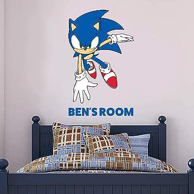 Sonic The Hedgehog Wall Sticker Sonic Personalised Name Vinyl Decal Kids Bedroom Art (90cm Height x 70cm Width): Baby