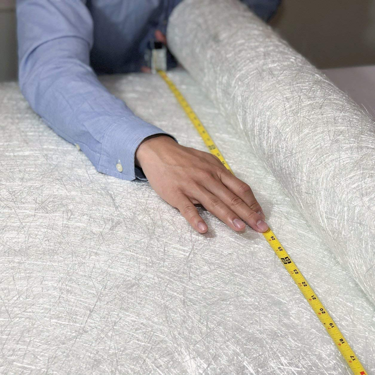 """Fiberglass Chopped Strand Mat Cloth 50"""" x 360""""   1 oz   50 Inch Wide 10 Yard Long   CSM GRP   Molding Roofing Boat Marine Repair with E-Glass Fiber Roll   Resin & Epoxy Compatible"""