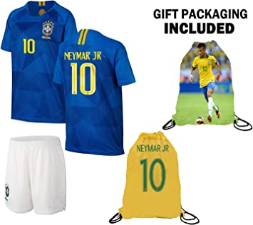 Amazon.com: Neymar Jersey Brasil Away camiseta de manga ...