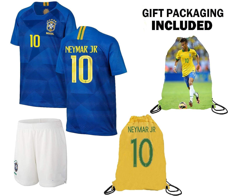0d056dc9 Neymar Jersey Brazil Away Short Sleeve Kids Soccer Jersey Brasil Neymar Jr  Soccer Gift Set Youth Sizes ✓ Premium Quality ✓ Soccer Backpack Gift  Packaging
