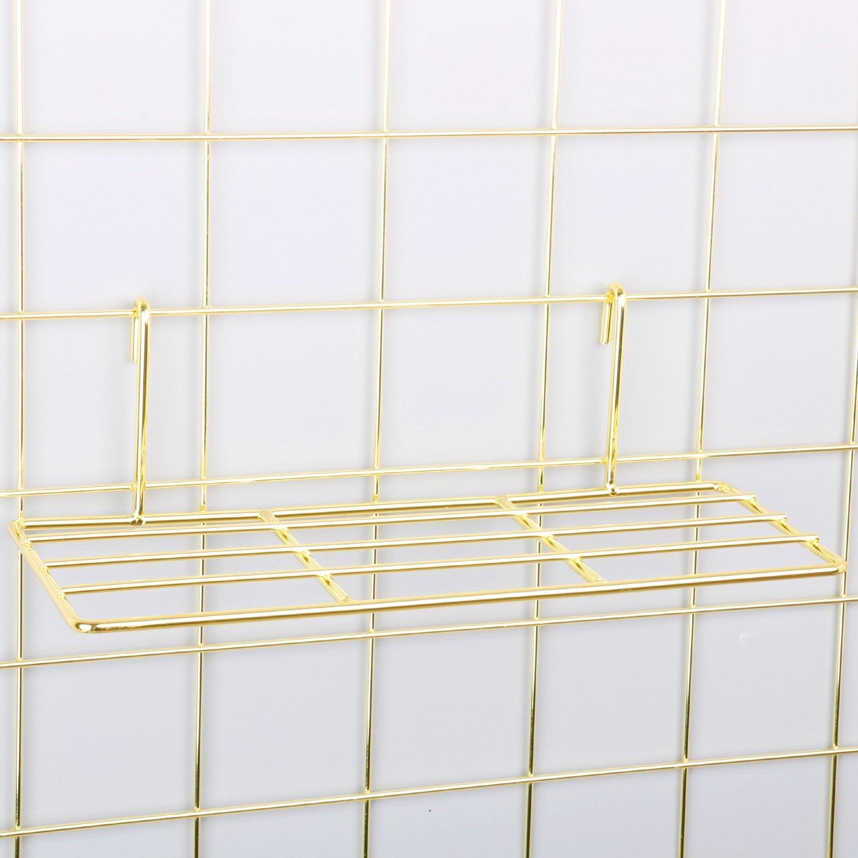Gold Straight Shelf Rack for Gridwall Grid Panel Wall Mountable Wire Organizer Storage Flower Pot Display Decor 9.8 x 3.9 ZONYEO