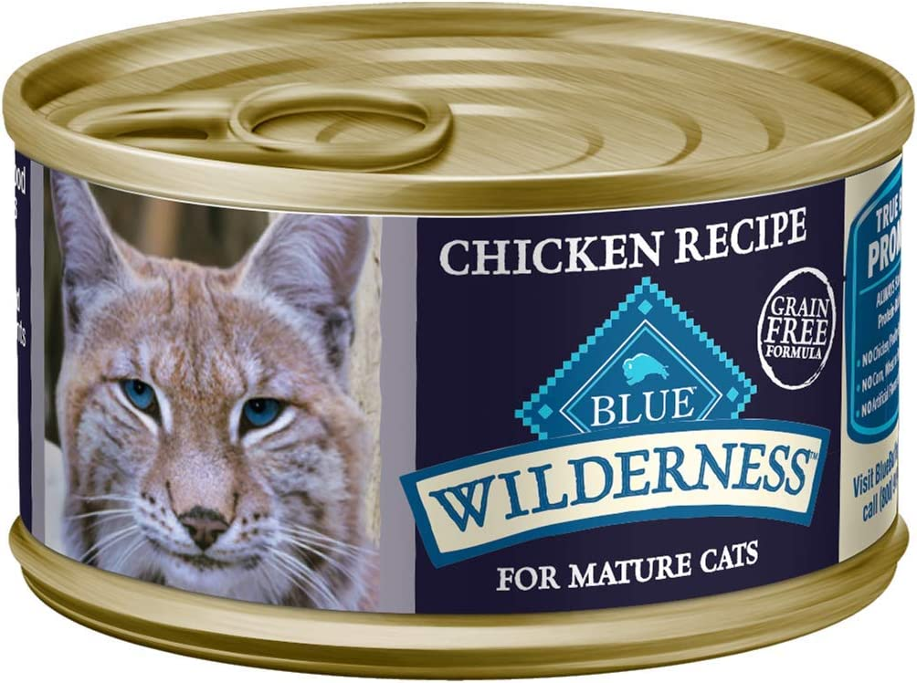 Blue Buffalo Wilderness High Protein Grain Free, Natural Mature Pate Wet Cat Food, Chicken 3-oz cans (Pack of 24)