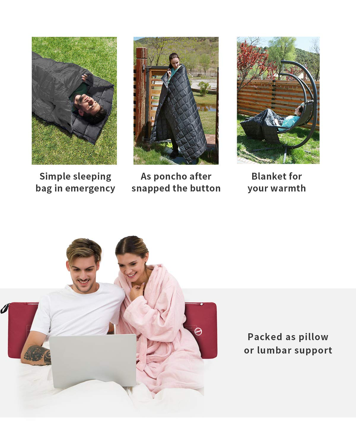 KingCamp Multifunctional Ultralight Camping Blanket with Snap Button Emergency Sleeping Bag