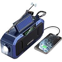 Portable Bluetooth Speaker w/AM FM Radio - 5000mAh Battery Powered Emergency Hand Crank Radio, Waterproof Solar Radio w…