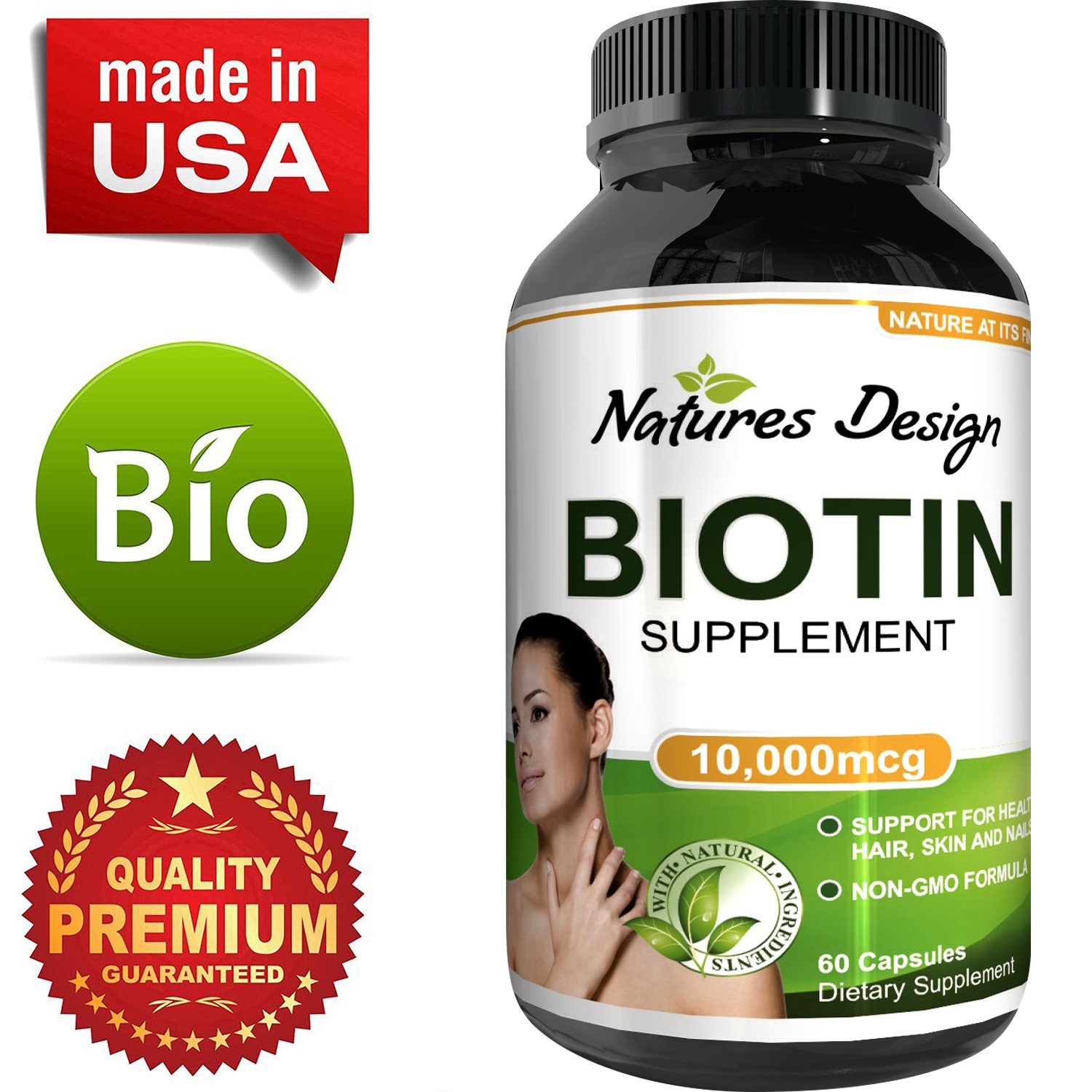 Best Biotin Pure Supplement - Natural Pills for Hair Nail and Skin Health - Potent Vitamins for Skin Care and Reduce Hair Loss - Great For Metabolism and Digestion For Men & Women by Natures Design
