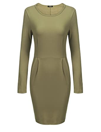 70661260 SE MIU Women's Classic Long Sleeve Empire Waist Official Bodycon Pencil Dress  Dark Green S