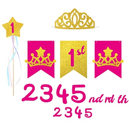 Amazon MALLMALL6 Princess First Birthday Banner Gold And Pink Party Crown Fairy Wand Set Perfect For 1 To 5 Years Old Baby Girl
