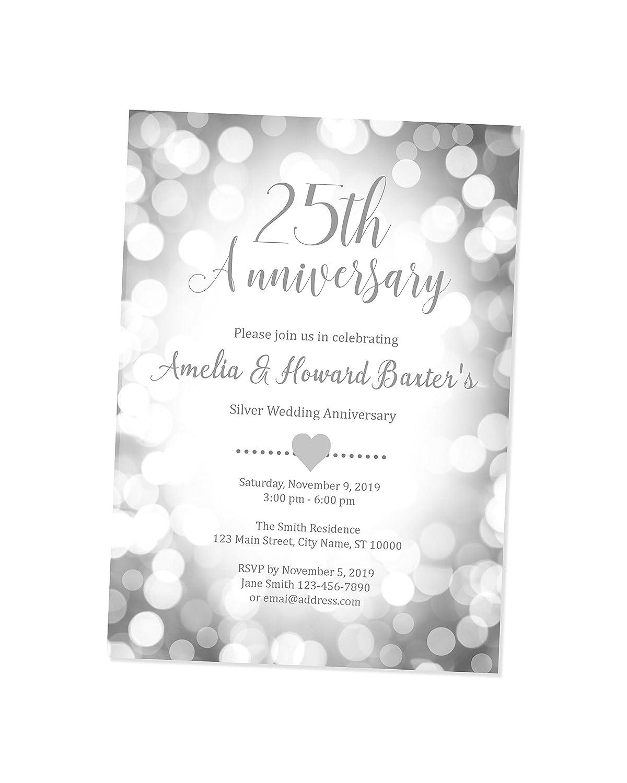 Amazon.com: 25th Wedding Anniversary Invitation, Silver Anniversary  Invitation, Silver Bokeh Sparkle Anniversary Invite, Custom Personalized  25th Silver Wedding Anniversary Invitations: Handmade