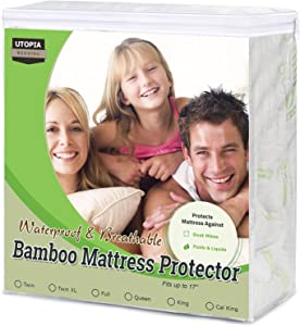 Utopia Bedding Bamboo Mattress Protector – Breathable and Waterproof Mattress Cover - Smooth Grip - Fits 17 Inches Deep - Easy Care (Queen)