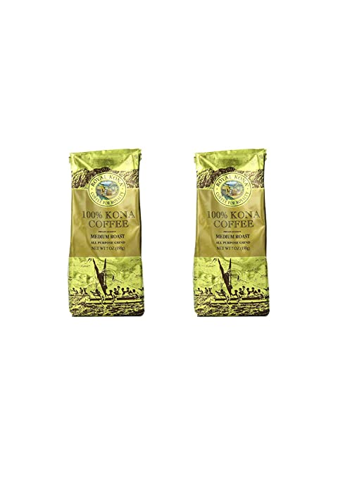 Royal Kona Ground Coffee, 100% Kona Private Reserve, Medium Roast, 0.44 Pound (2 pack)