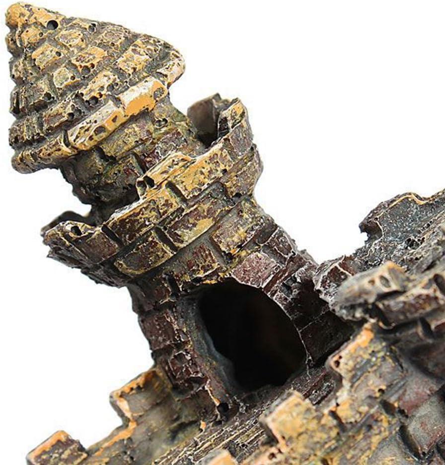 Toruiwa 1/x ornamento acquario vintage torre del castello di resina Rockery abbellimento paesaggio sottomarino decorazione Craft 11.5*6.5*10/cm
