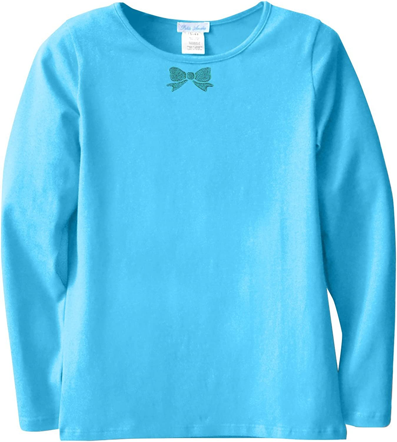 Petite Amelia Little Girls Short Sleeve Embroidery Bow Top