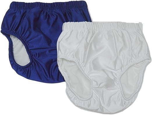 My Pool Pal Big Kids 2 Pack Swim Brief//Diaper Cover Navy//White X Small