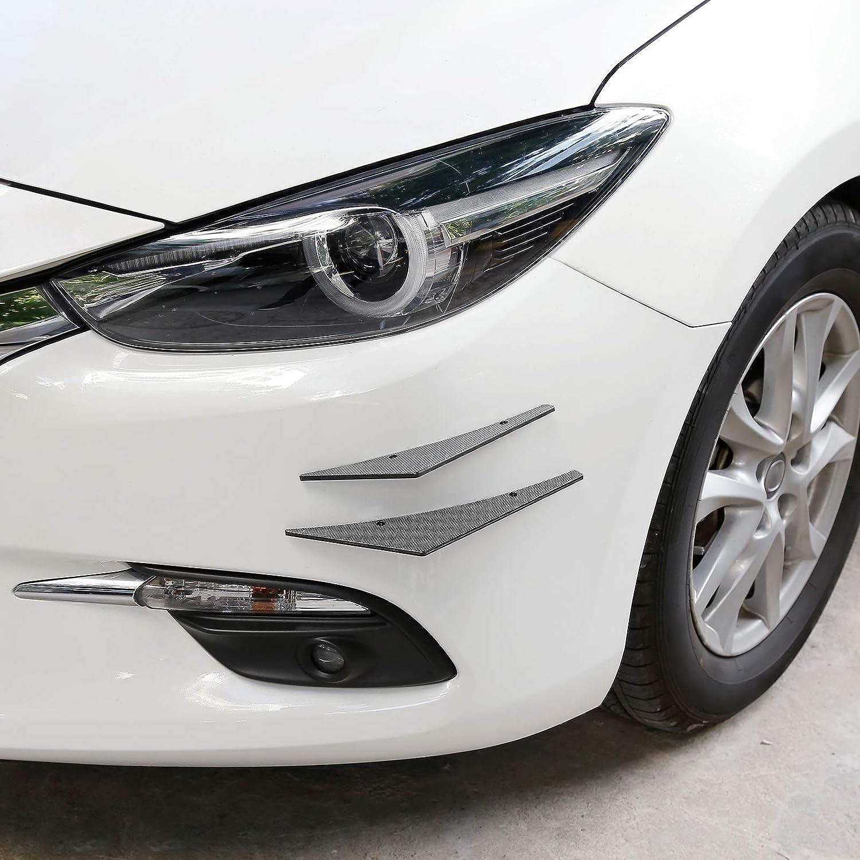 X AUTOHAUX 4pcs Carbon Fiber Pattern Exterior Front Bumper Lip Splitter Fins Spoiler Trim Universal with Hole ABS for Car Truck