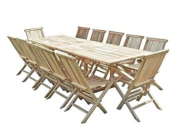 Confort & Loisirs Salon de Jardin en Teck BATAN 10 chaises 2 ...