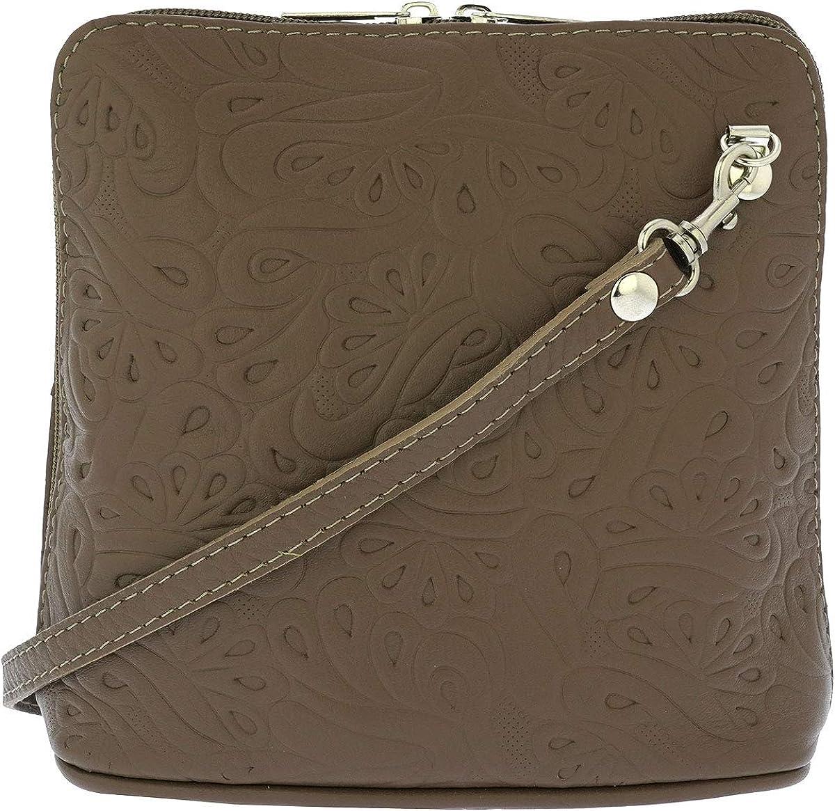 Fioretta Italian Embossed Genuine Leather Crossbody Shoulder Bag Clutch Handbag For Women